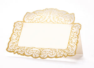 Elegant tented place card, die cut in gold and cream  all that is needed is your guest name