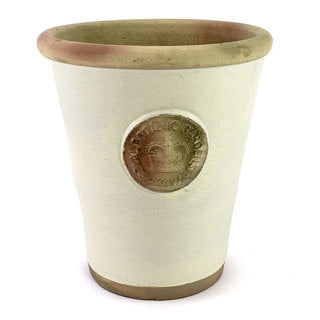 Handcrafted Small Pot. Ivory Glaze and Embossed with London's KEW Royal Botanical Garden's Official Seal