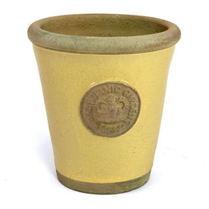Handcrafted Cotswold Kew Long Tom Medium  Pot in Wheat Glaze Embossed with London's KEW Royal Botanical Garden's Official Seal