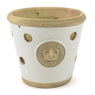 Handcrafted Medium Orchid Pot. Old World White Glaze with holes all around for air to get to the roots.  Embossed with London's KEW Royal Botanical Garden's Official Seal