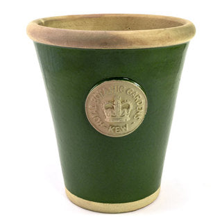 Handcrafted Small Pot. Dark Green Glaze and Embossed with London's KEW Royal Botanical Garden's Official Seal