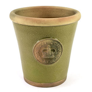 Handcrafted Small Pot. Moss Green Glaze and Embossed with London's KEW Royal Botanical Garden's Official Seal