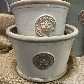Handcrafted Windsor Kew Low large and Small Pots nested. Light Grey Glaze Embossed with London's KEW Royal Botanical Garden's Official Seal