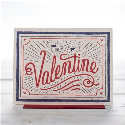 A Valentine Care in red, blue and white with hand lettering