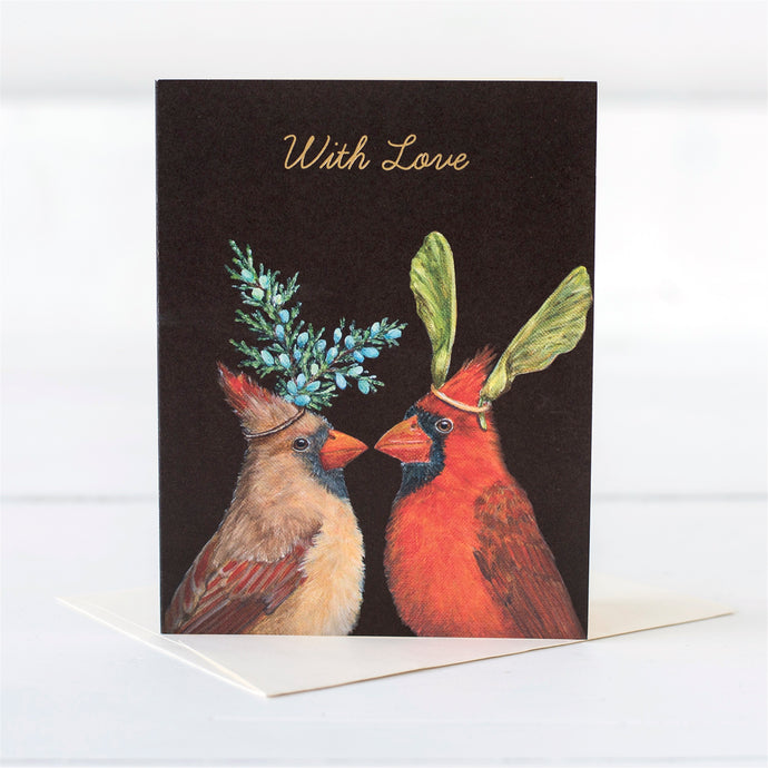 Original artwork by Vicki Sawyer features two cardinals with a message of love gold foiled on the front. Love Cardinal Gold Foil Card