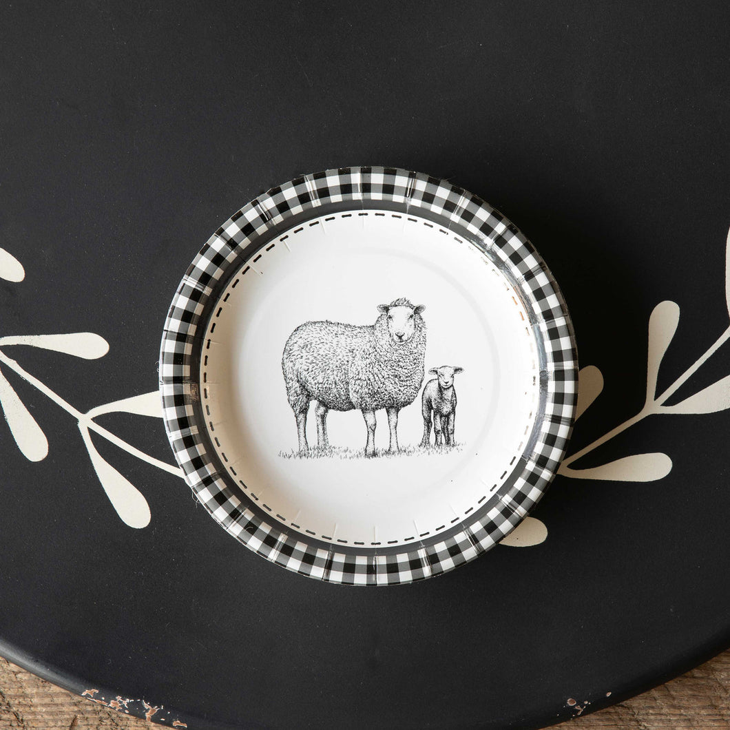 Black and White Sheep Dessert Plates