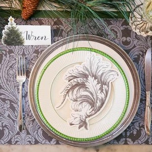 A photograph of the Tapestry Placemat being used in a place setting.