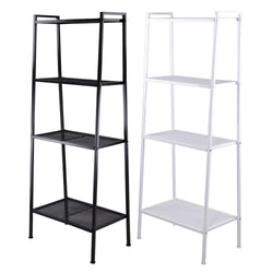 TheLAShop 4-Tier Metal Bookshelf Ladder Storage Rack Bookcase Black/ White