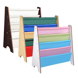 TheLAShop Kids Wood 5-Pocket Sling Bookshelf Book Display Rack Color Opt