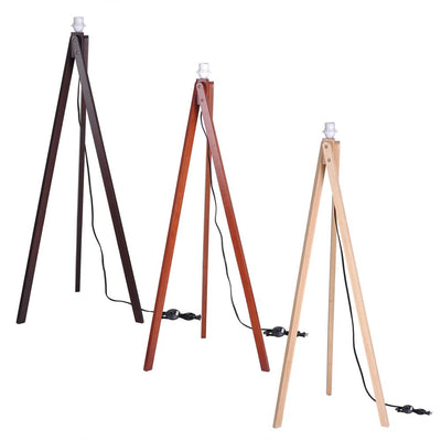"57"" Wooden Tripod Floor Lamp Linen Shade Optional"