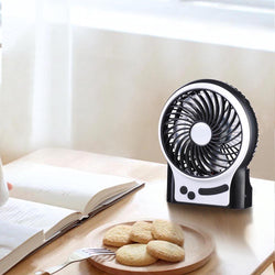 Portable 3-Speed Mini Cooling Fan USB w/ Rechargeable Battery