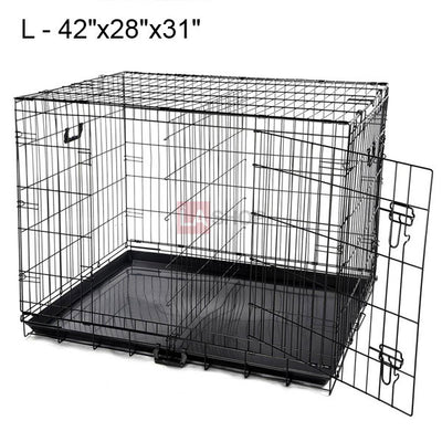 S M L XL Folding Dog Crate Cage 2 Doors w/ Tray Divider Size Opt