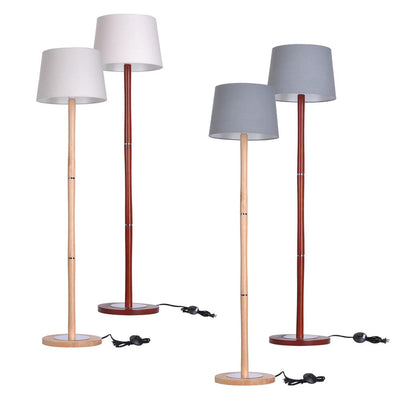 57in 3-Section Wood Pole Lamp Floor Lamp Linen Shade Optional