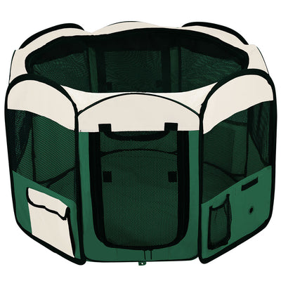 "48"" Soft Sided Octagon Playpen Portable Pen Green"