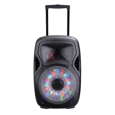 "15"" Portable LED Speaker Rechargeable PA System Bluetooth USB"
