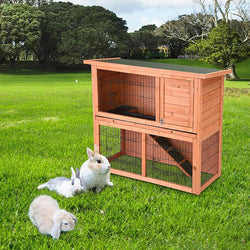 "44""x18""x36"" 2-Story Wooden Rabbit Hutch Guinea Pig Cage House"