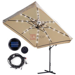 9x9ft Square Offset Patio Umbrella w/ LED lights