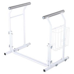 Adjustable Toilet Safety Rail Stand Alone w/ Rack 375lbs Support
