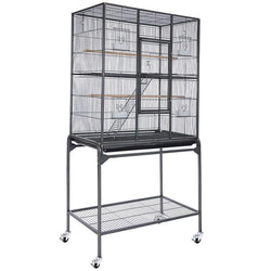 30x18x64 in Cockatiel Parrot Bird Flight Cage Stands Black