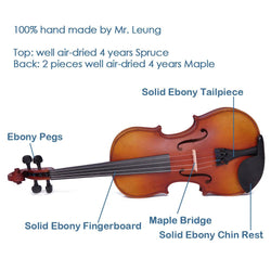 Vif 4/4 Full Size Maple Wood Student Violin with Bow Case A