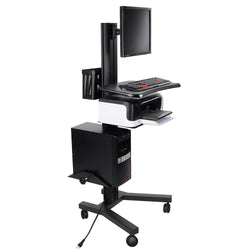 PC Mobile Cart Computer Printer Rolling Workstation Black