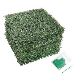 "12pcs 20""x20"" 33sq.ft Artificial Boxwood Hedge Fence Screen w/ Ties"