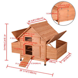 "59""x39""x41"" Wooden Poultry Chicken Coop Hen House w/ Nesting Box"
