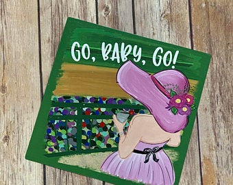 Go Baby Go Derby Wreath Attachment, Metal Sign - Sew Cute By Katie