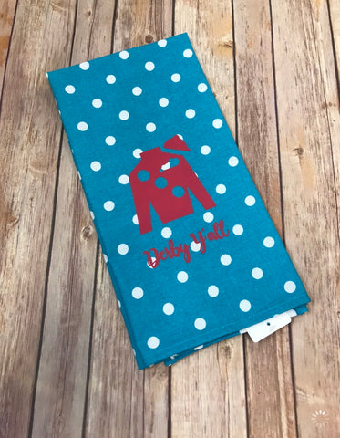 Derby Y'all Jockey Silk hand towel - polka dot aqua with hot pink jockey - Sew Cute By Katie