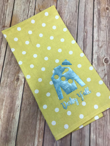 Derby Y'all Jockey Silk hand towel - polka dot yellow with teal jockey - Sew Cute By Katie
