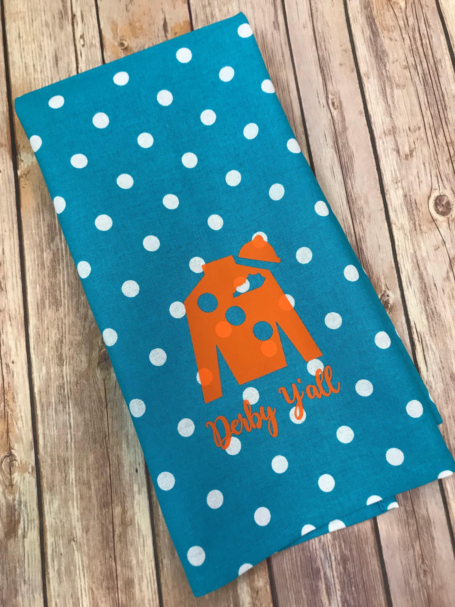 Derby Y'all Jockey Silk hand towel - polka dot aqua with orange jockey