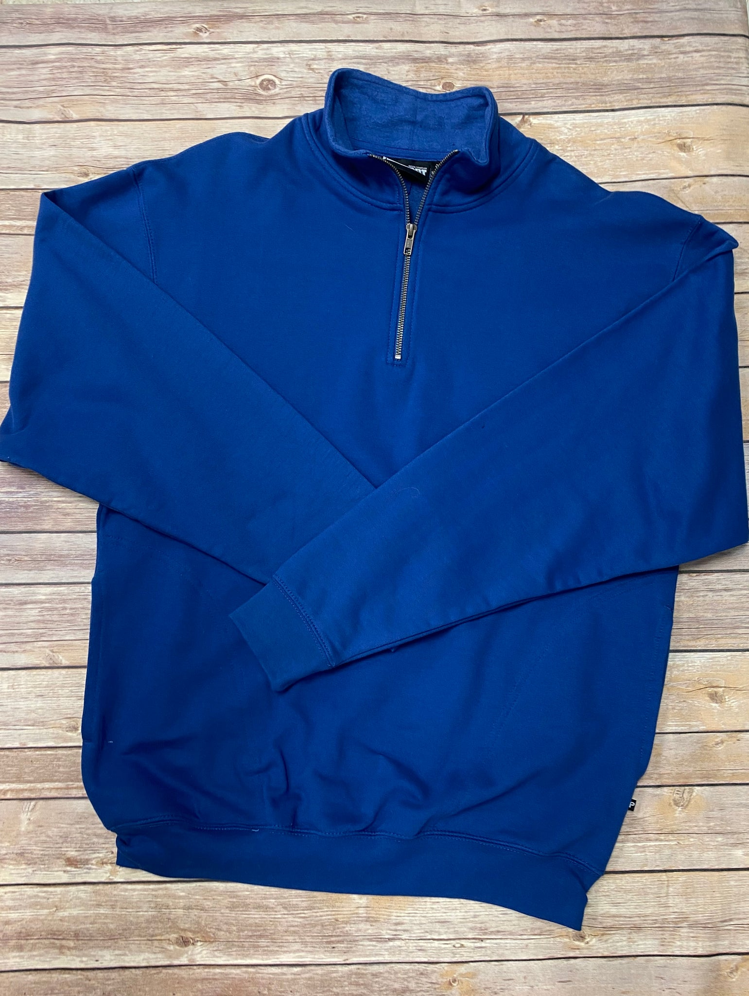 Monogrammed 1/4 zip Unisex Sweatshirt with pockets - royal blue - Sew Cute By Katie