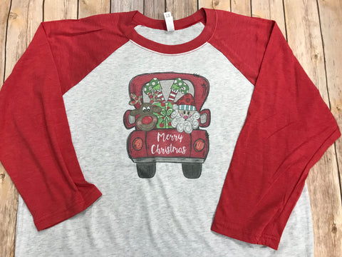 Red Truck Merry Christmas Shirt - Sew Cute By Katie