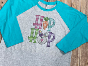 Hip Hop Easter Bunny Raglan Tee with Aqua Sleeves - Sew Cute By Katie
