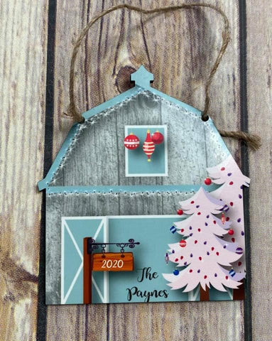 Personalized Barn and Tree Christmas Ornament