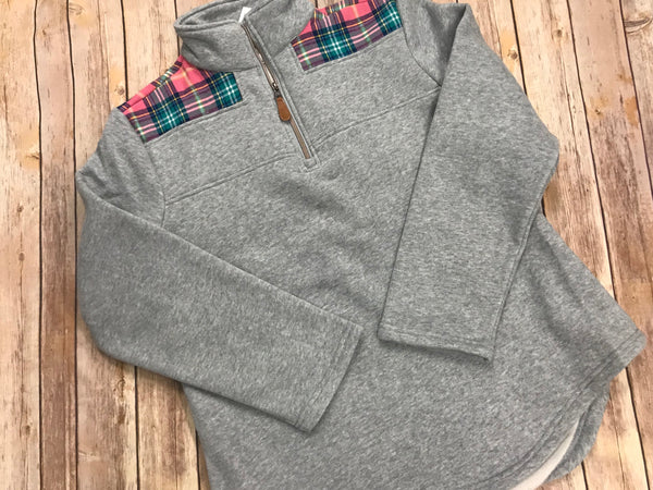 Gray  1/4 zip with  pink plaid trim - Sew Cute By Katie