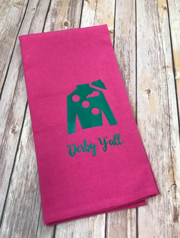 Derby Y'all Jockey Silk hand towel - hot pink with kelly green jockey silk - Sew Cute By Katie