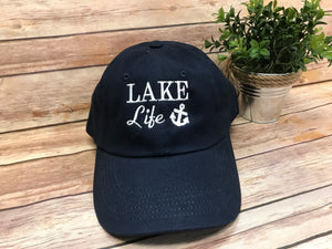 Lake Life Monogram Baseball Hat - Navy with White - Sew Cute By Katie
