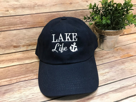 Lake Life Monogram Baseball Hat - Navy with White