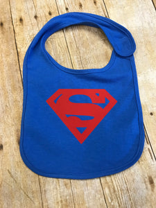 Superman Baby Bib blue with red - Sew Cute By Katie