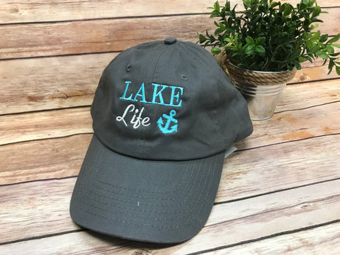 Lake Life Monogram Baseball Hat - Gray with Teal - Sew Cute By Katie