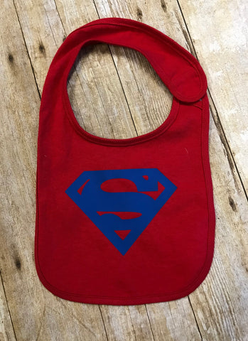 Superman Baby Bib red with blue - Sew Cute By Katie