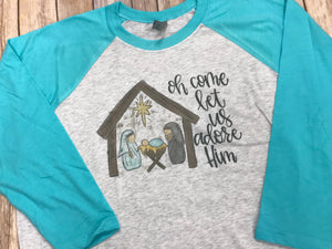 Manger O Come Let Us Adore Him Christmas Shirt - Sew Cute By Katie