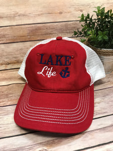 Lake Life Monogram Baseball Hat - Red with White & Blue - Sew Cute By Katie