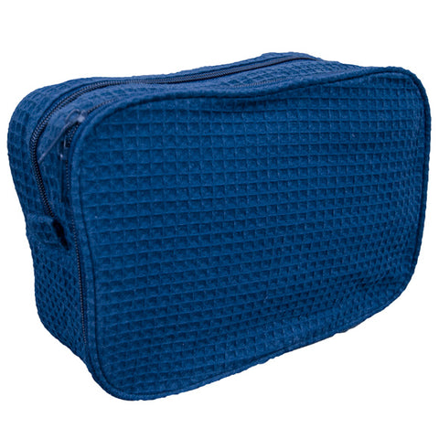 Waffle Weave Cosmetic Bag - navy - Sew Cute By Katie