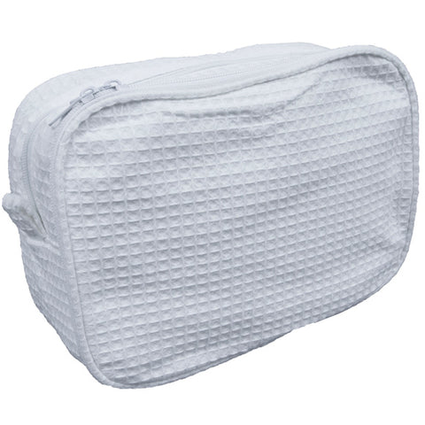 Waffle Weave Cosmetic Bag - white - Sew Cute By Katie