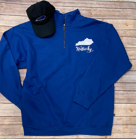 Kentucky 1/4 zip Unisex Sweatshirt with pockets - royal blue - Sew Cute By Katie