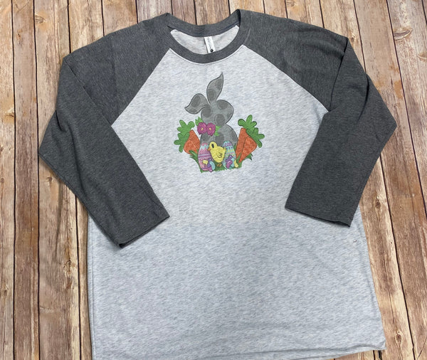 Easter Bunny Raglan Tee with Gray Sleeves - Sew Cute By Katie