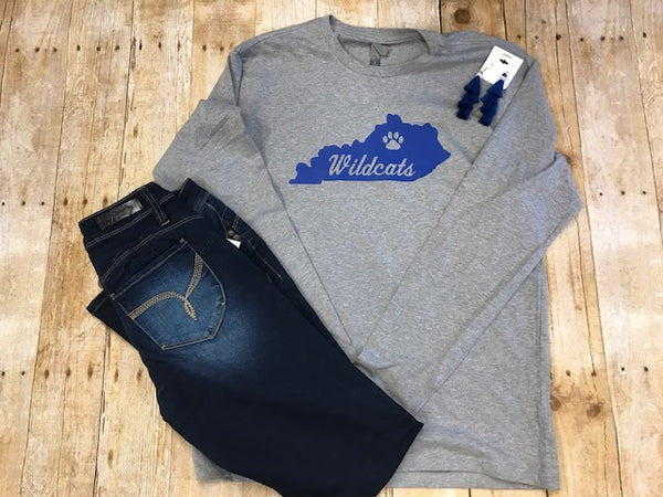 Long Sleeve Kentucky Wildcats State T-shirt - Sew Cute By Katie
