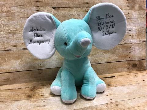 Elephant with Personalized Embroidered Ears